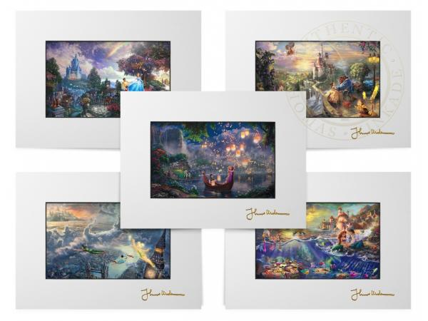 Thomas Kinkade Disney Matted Print Set of 5