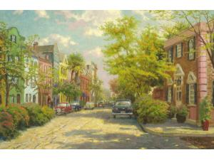 Charleston Sunset on Rainbow Row Painting by Thomas Kinkade