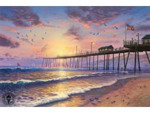 Footprints in the Sand Painting by Thomas Kinkade