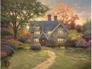 Gingerbread Cottage Painting by Thomas Kinkade