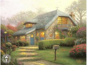 Lilac Cottage Painting by Thomas Kinkade