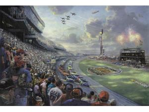 Thomas Kinkade Nascar Thunder Painting Limited Edition Canvas