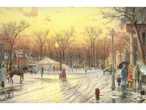 Town Square Painting by Thomas Kinkade
