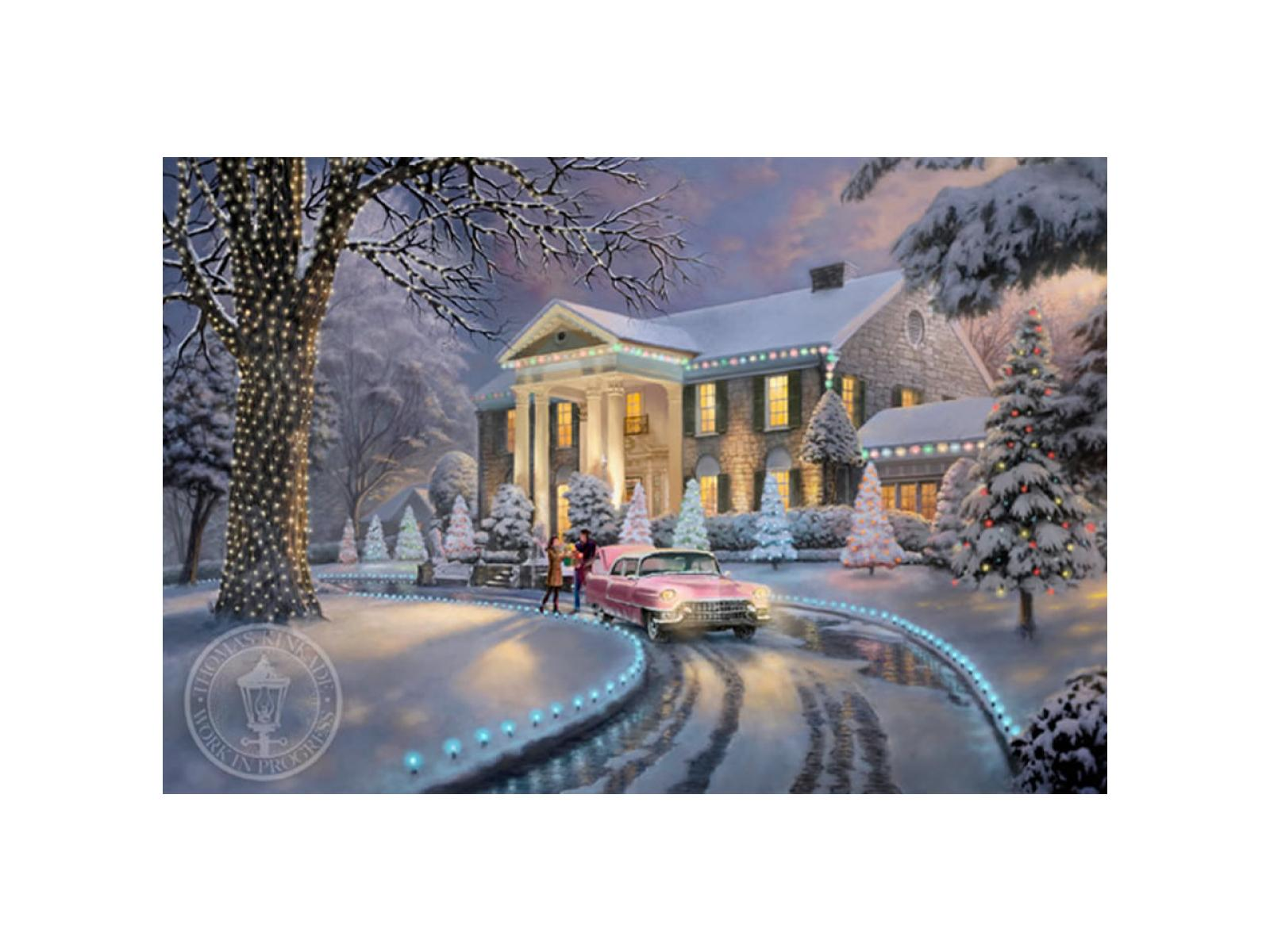 graceland christmas limited edition canvas graceland christmas painting by thomas kinkade